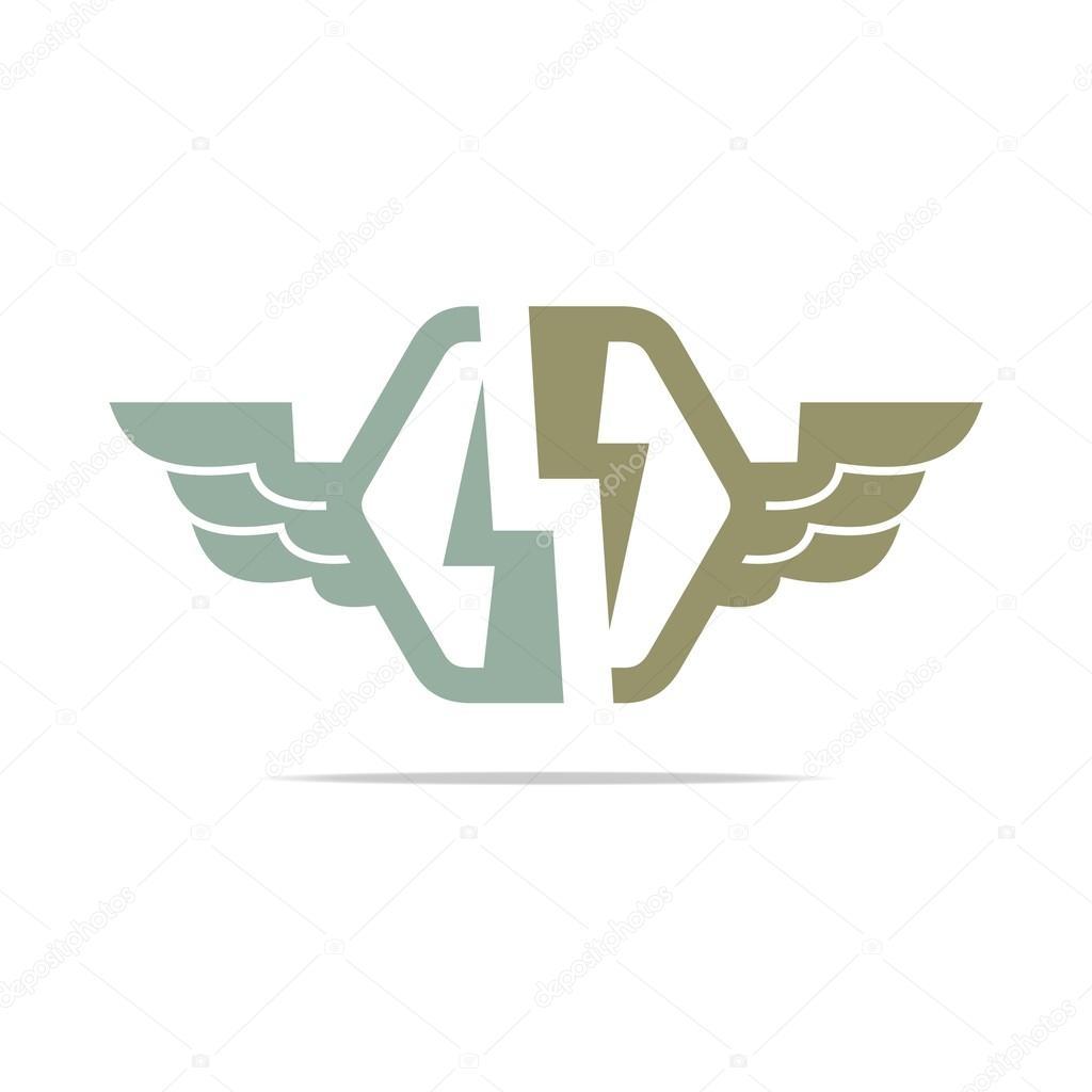 Logo Strom macht Flügel Symbol entwerfen Symbol abstrakte Vektor ...