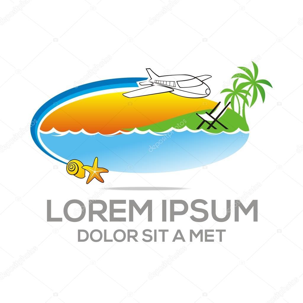 Logo Beach Holiday Sunset Ocean Vocation Plane