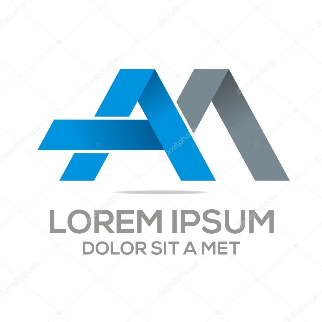 Logo Vector AM Lettermark Abstract Business