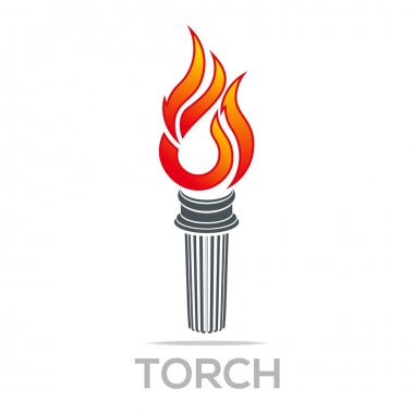 Flame fire torch design luxury logo icon shape vector