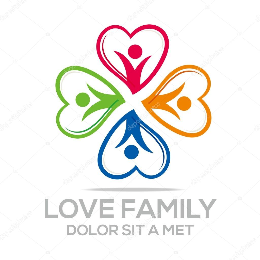 Logo love people heart business creative vector