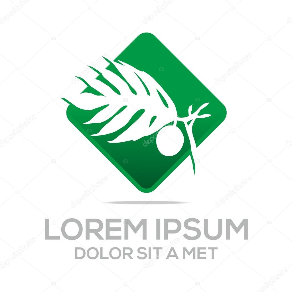 Logo palm tree natural vector symbol