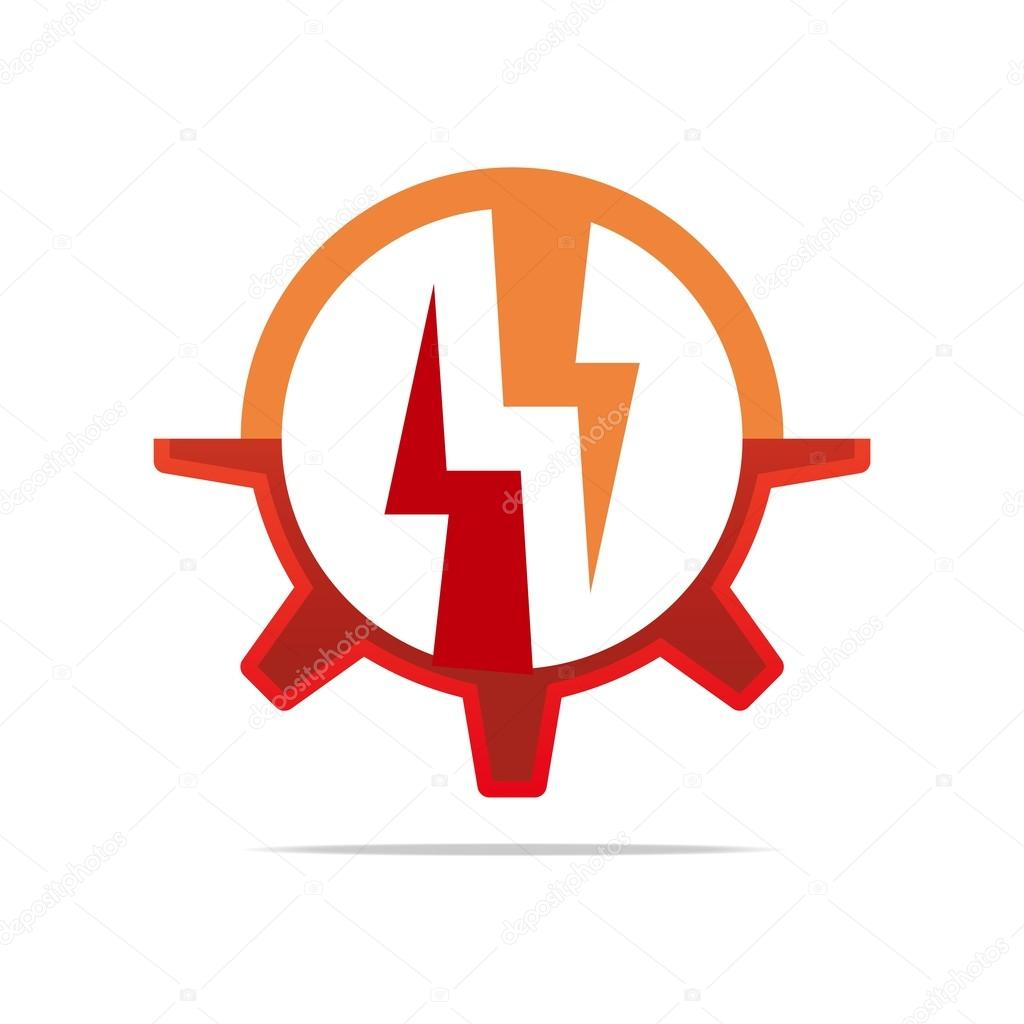 logo design icon power electricity circle gear red symbol