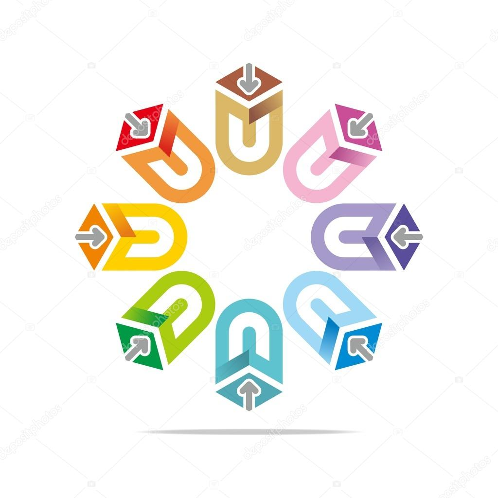Logo abstract colorful star arrow symbol pointer vector stock house icon land logo management map north off pointer position purple hexagon purpose sign abstract area arrow blue business real biocorpaavc