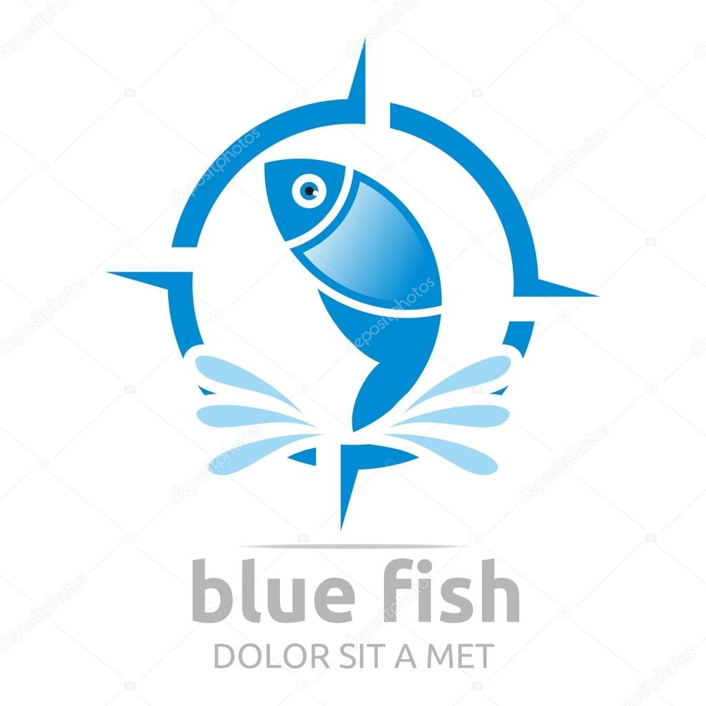 Logo blue fish circle design icon symbol vector
