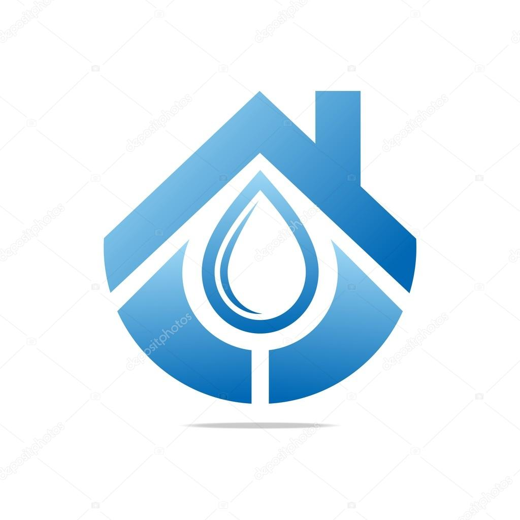 Logo Design Water Drop House Blue Symbol Icon Abstract Vector
