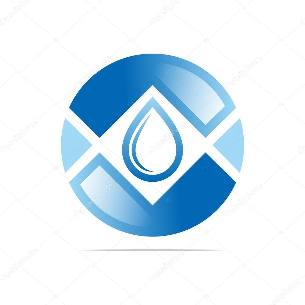 Logo Design Water Drop Shapes Circle Blue Symbol Icon Abstract Vector