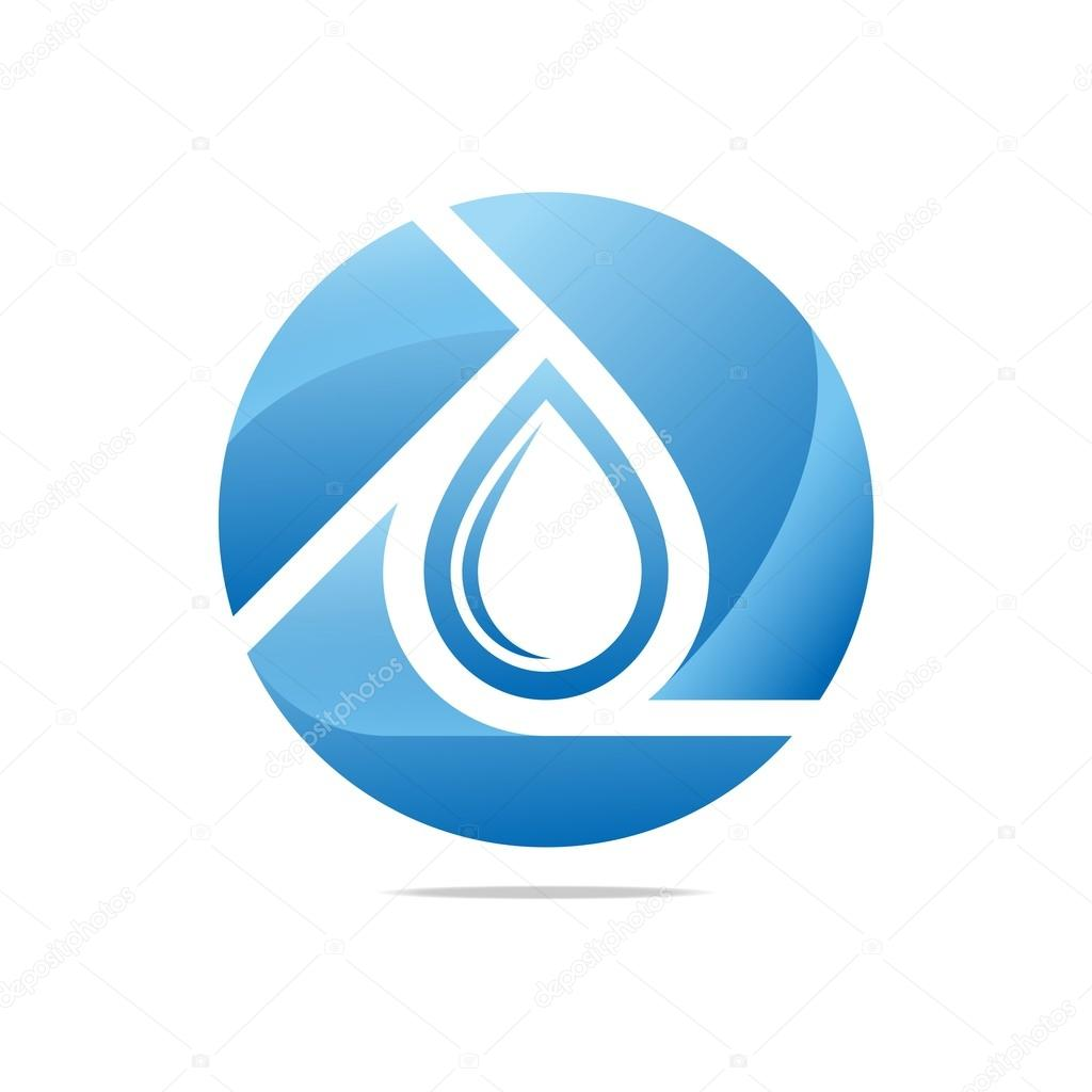 Logo Design Water Drop Shapes Circle Blue Symbol Icon Abstract Vector
