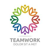Photo Logo teamwork people human colorful design vector