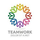 Photo Logo teamwork people human colorful design vector