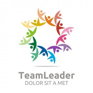 Logo teamleader guidance human colorful design vector