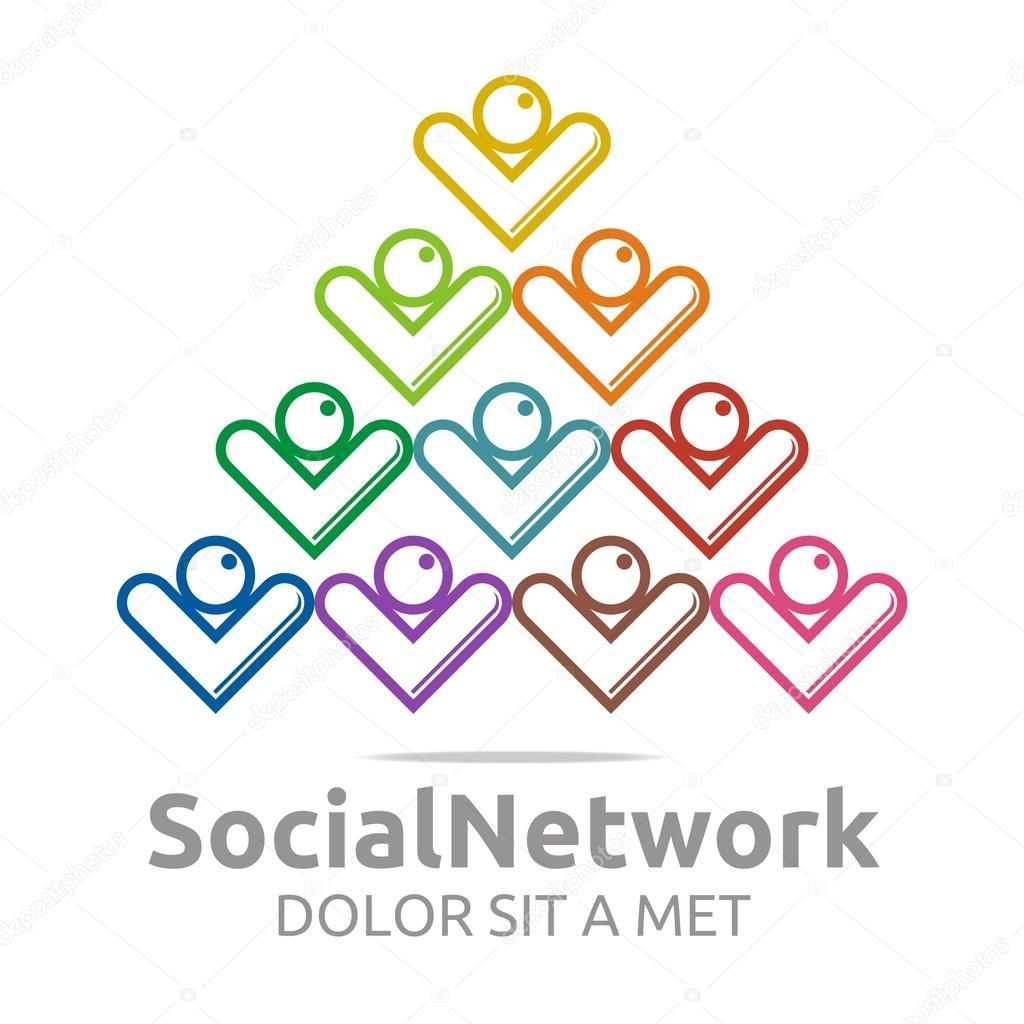 logo sociale network persone stella colorato disegno vettoriale ... - Disegno Stella Colorate