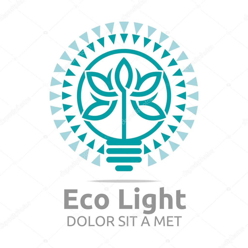 Abstract logo eco light bulb design colorful icon vector
