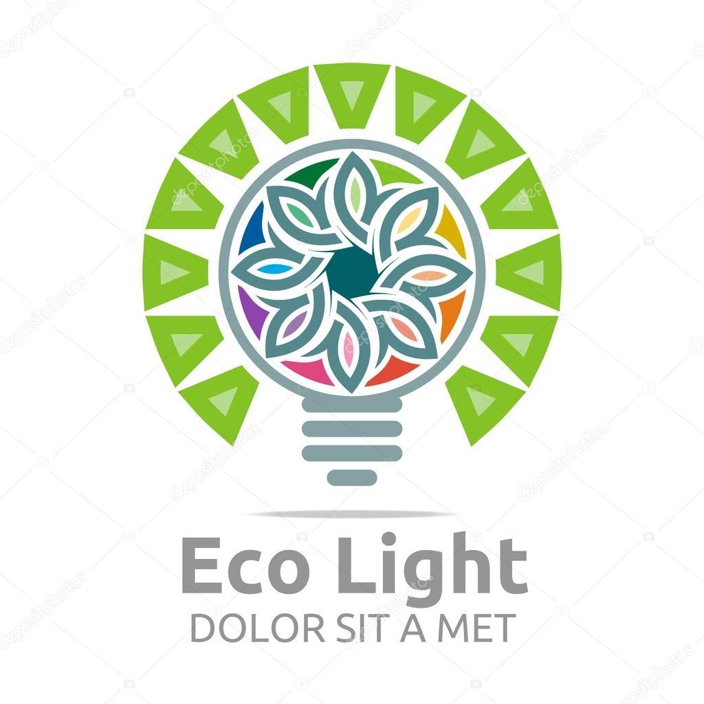 Abstract logo eco light bulb design colorful icon vector