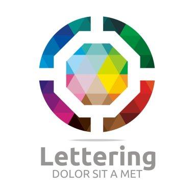 Abstract Logo Lettering O Rainbow Alphabet Design Vector