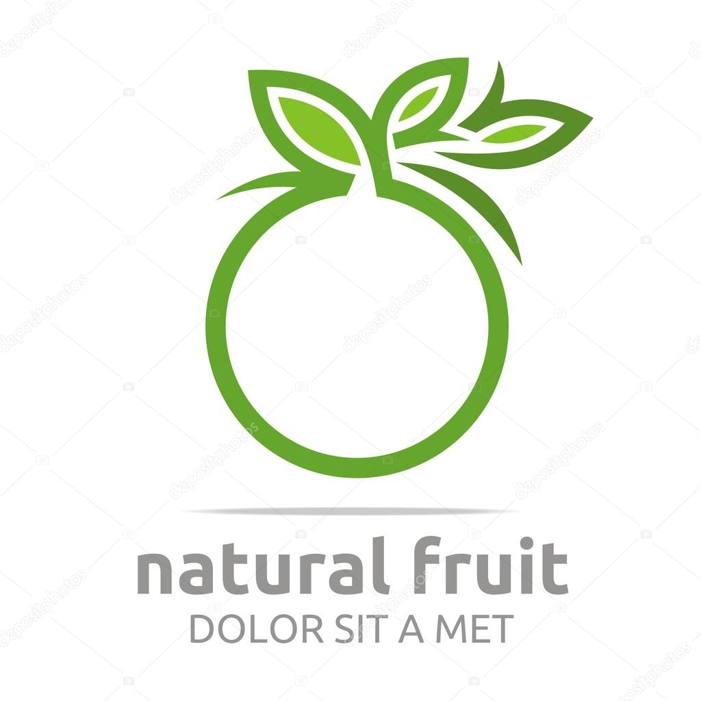 Logo natural fruit orange fresh lime leaves design vector