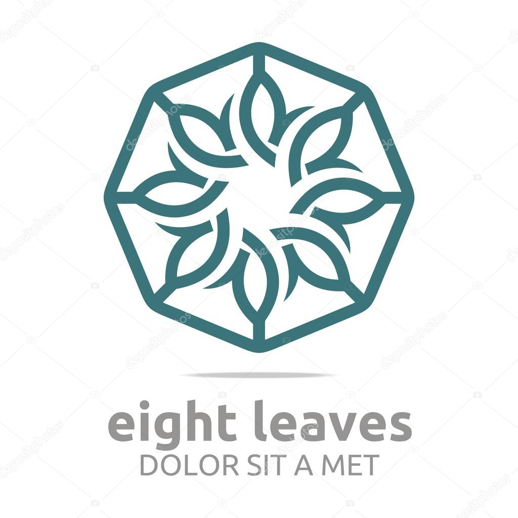 Abstract logo leaves circle ecology flora design vector