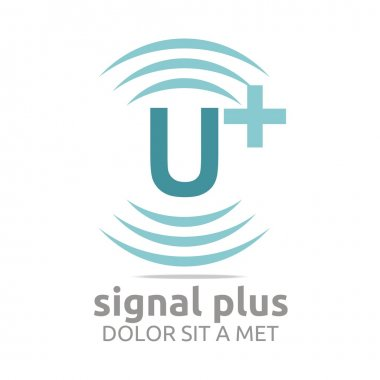 Logo signal lettering plus color alphabet wireless vector