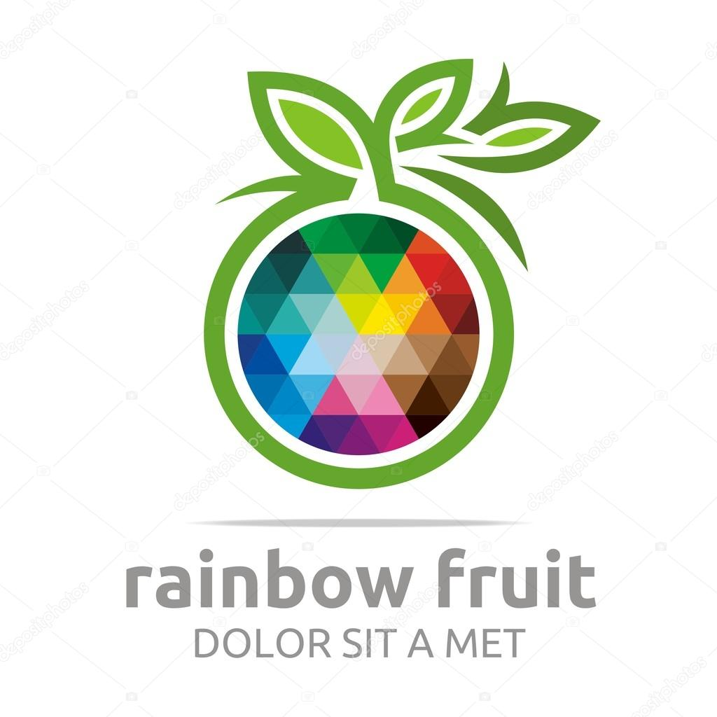 Logo rainbow fruit orange food nutrition symbol vector