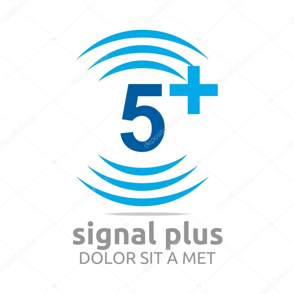 Logo signal number plus color figure wireless vector — Stock Vector ...