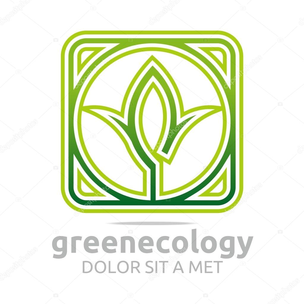 Abstract logo leaves green ecology design vector
