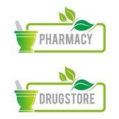 Fotografie Logo pharmacy mashed drugs organic product icon vector