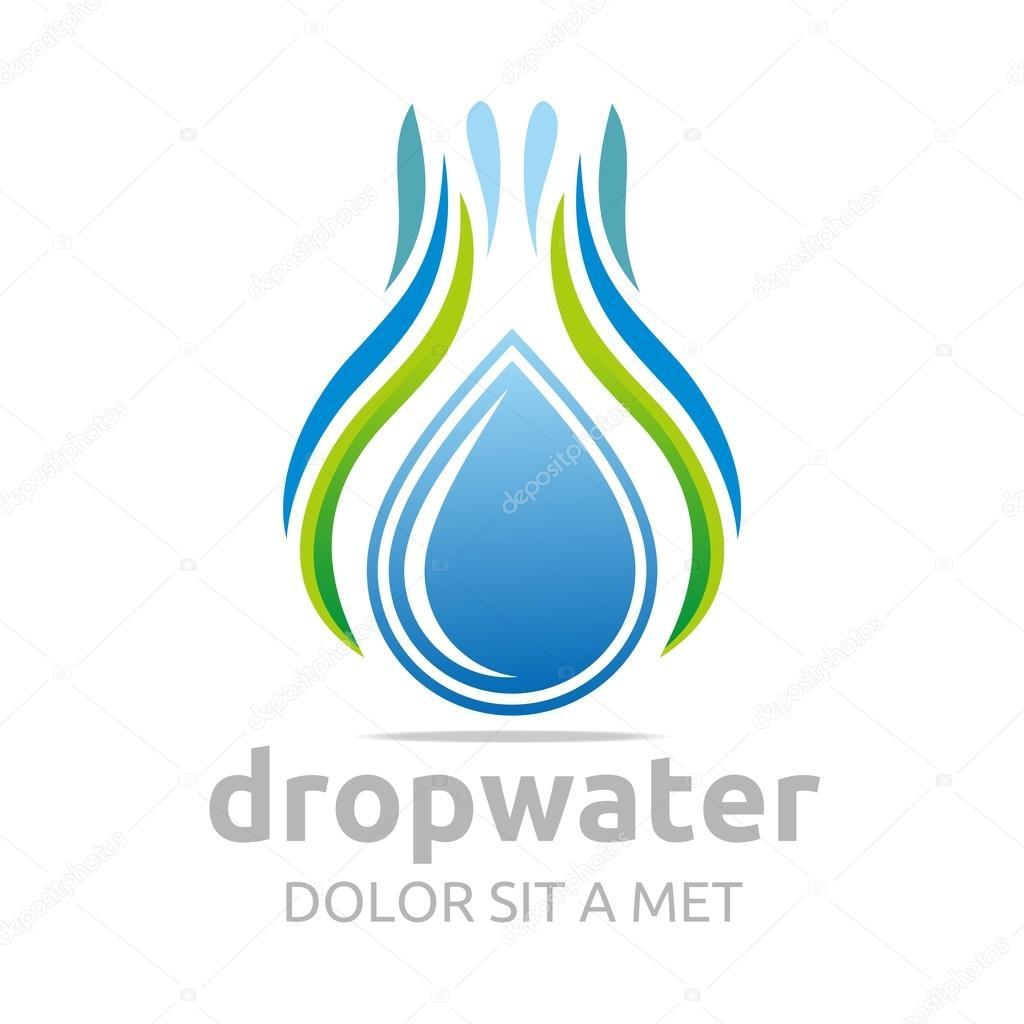Logo water drop pure symbol icon business design vector
