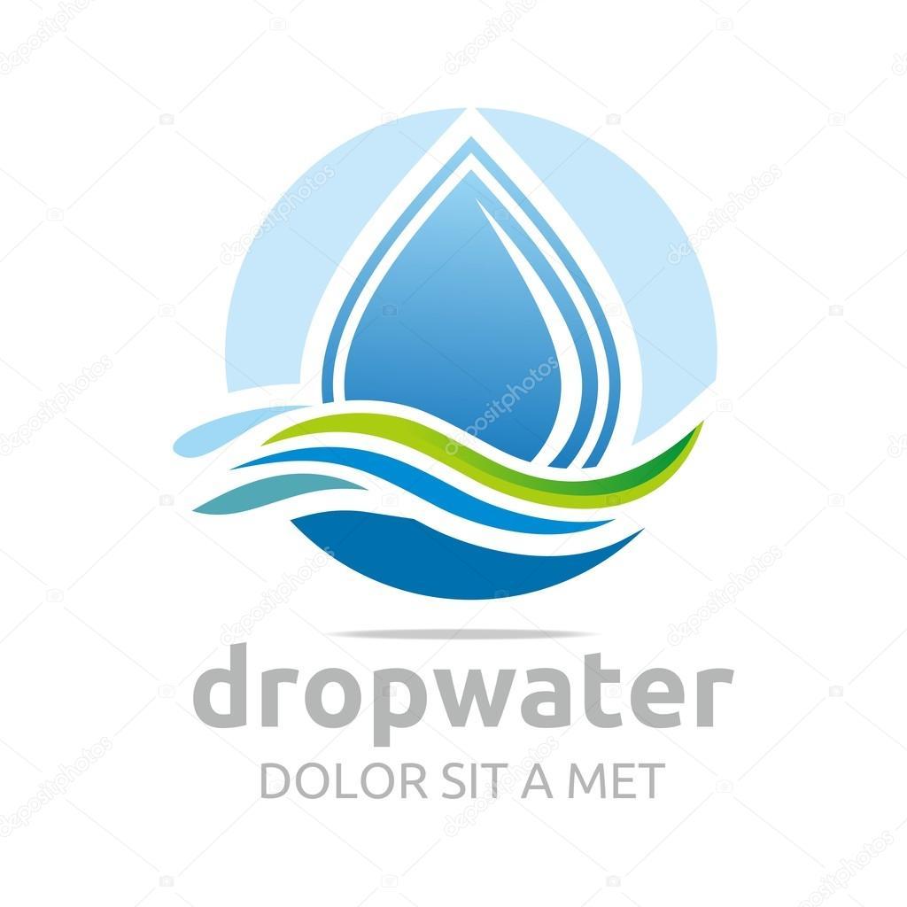 Logo drop water pure shapes symbol design icon vector