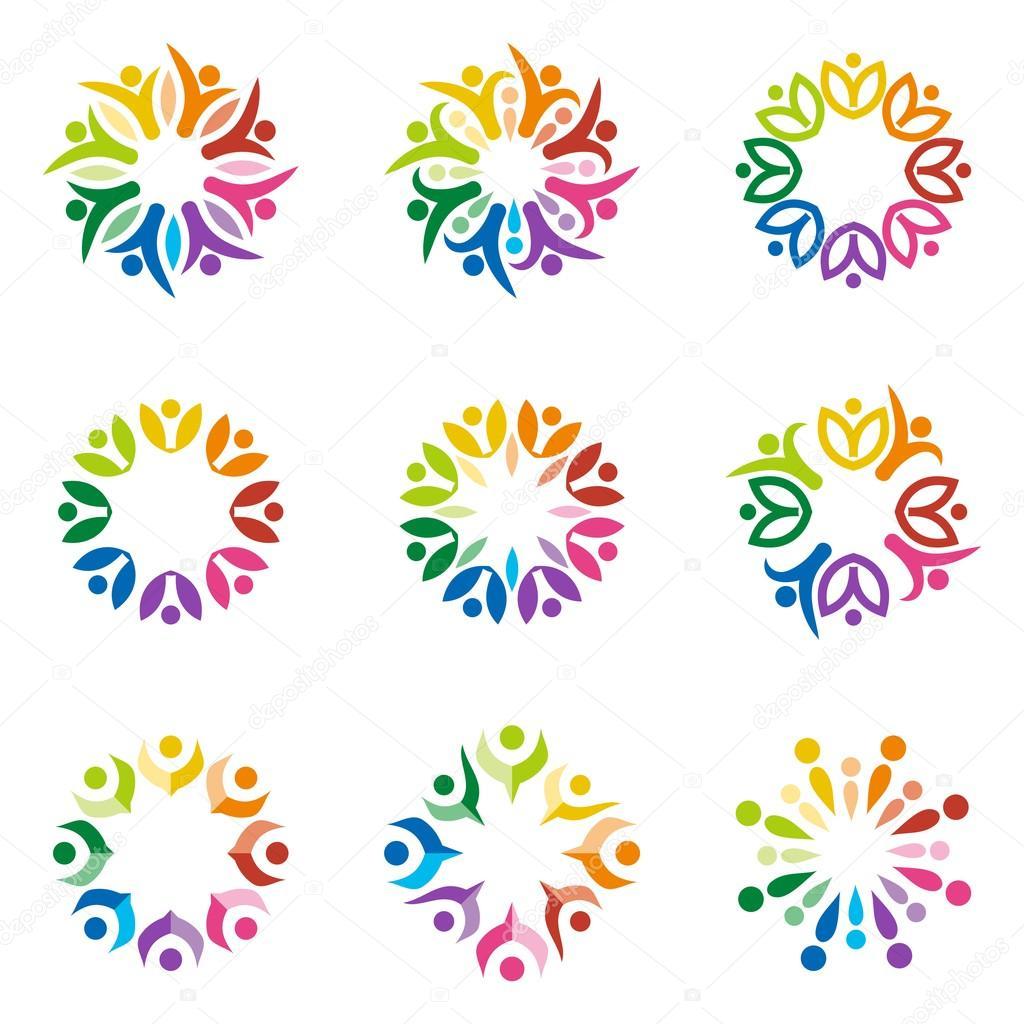 Logo teamwork people human colorful design vector