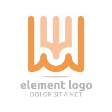 Logo Orange Trident Arch W Element Design Vector Abstract