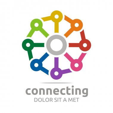 Logo abstract connecting design icon chains vector
