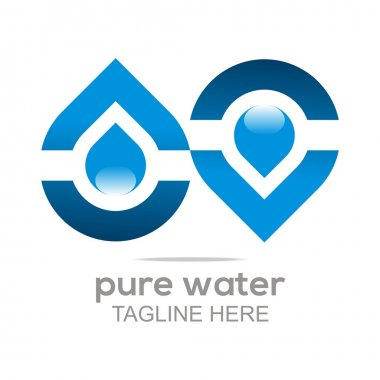 Logo Pure Water Drop Symbol Icon Vector Business Aqua