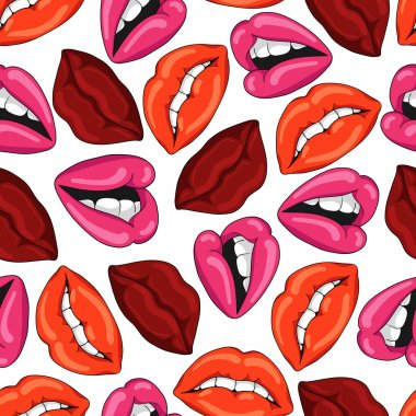 Pattern with sexy red lips. Vector illustration