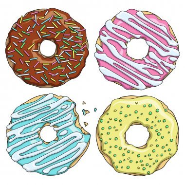 Set of cartoon colorful tasty donuts on the white background.