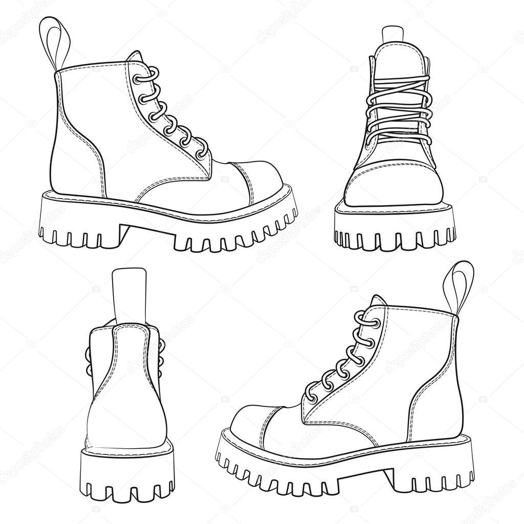 Vector: bota de trabajo | Conjunto de vectores de dibujos