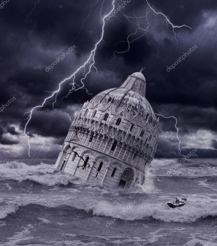 Tower sinking in apocalyptic flood and storm