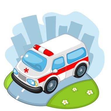 Ambulance rides on the road