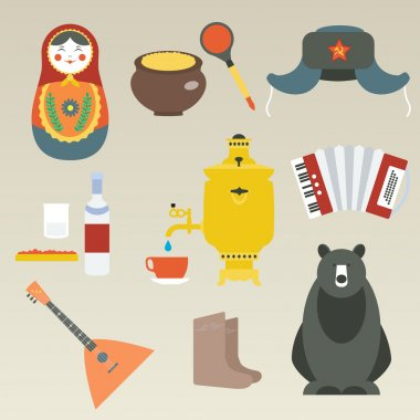 Russian flat icons set