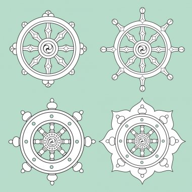 Dharma Wheel Dharmachakra Icons. Buddhism symbols. stock vector