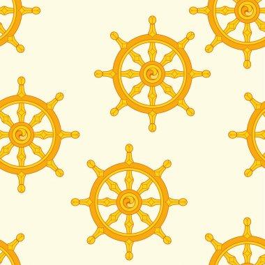Wheel of Dharma Pattern Dharmachakra Pattern Buddhism. stock vector