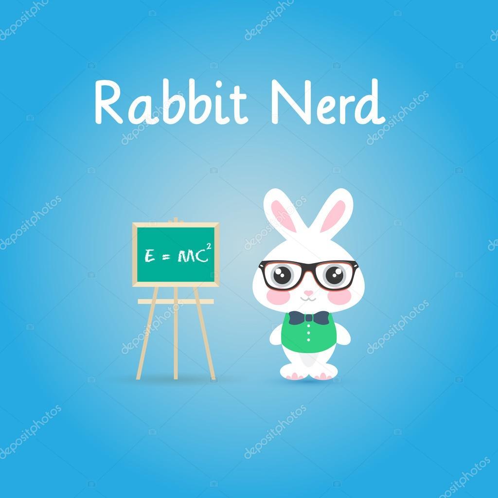 Rabbit nerd with glasses