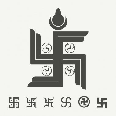 Swastika symbol set. Buddhist tradition spiritual symbol. Vector illustration. stock vector