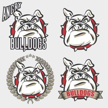 Set of bulldog heads