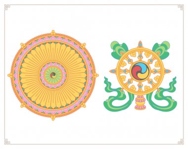 Dharma Wheel, Dharmachakra Icons. Wheel of Dharma in flat design. Buddhism symbols. Symbol of Buddha's teachings on the path to enlightenment, liberation from the karmic rebirth in samsara. stock vector