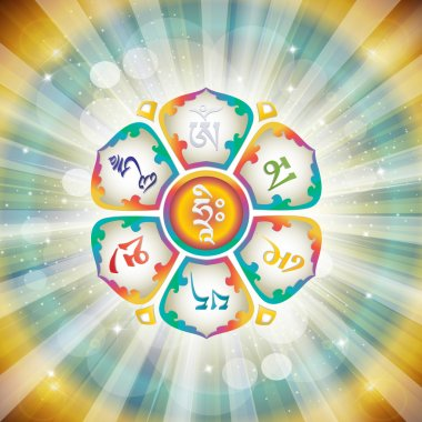 Mantra OM MANI PADME HUM in the Lotus. Buddhism. Vector illustration. stock vector