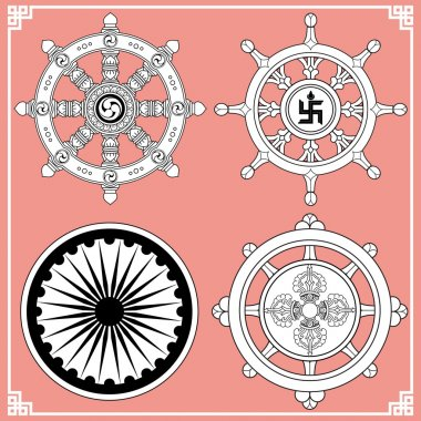 Dharma Wheel, Dharmachakra Icons. Wheel of Dharma in black and white design. Buddhism symbols. Symbol of Buddha's teachings on the path to enlightenment, liberation from the karmic rebirth in samsara. stock vector