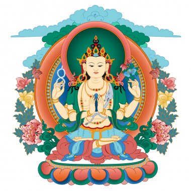 Vector illustration with Bodhisattva Avalokiteshvara.  Bodhisattva who embodies the compassion of all Buddhas. A symbol of the Tibetan Buddhism. Buddha. Color design. stock vector