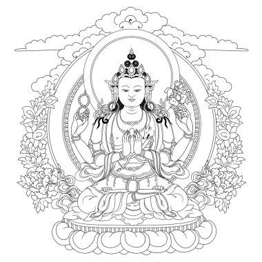 Vector illustration with Bodhisattva Avalokiteshvara.  Bodhisattva who embodies the compassion of all Buddhas. A symbol of the Tibetan Buddhism. Buddha. Black and white design. stock vector