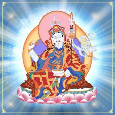 Vector illustration with Guru Padmasambhava. Lotus-Born. Guru Rinpoche  was an  Indian Buddhist master. It is an emanation of Buddha Amitabha. A symbol of the Tibetan Buddhism. Buddha. stock vector