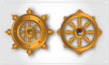 Dharma Wheel, Dharmachakra Icons. Wheel of Dharma in realistic design. Buddhism symbols. Symbol of Buddha's teachings on the path to enlightenment, liberation from the karmic rebirth in samsara. stock vector